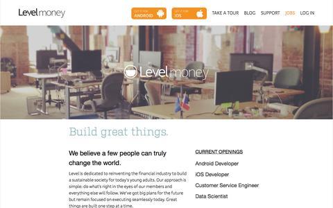 Screenshot of Jobs Page levelmoney.com - Jobs - Level Money - captured Sept. 16, 2014