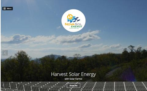Screenshot of Home Page About Page Contact Page Press Page novasolenergy.com - Nova Sol Energy - captured Oct. 1, 2014