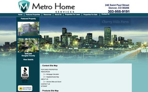 Screenshot of Site Map Page denvermhs.com - :: Real Estate Denver Metro and Denver Relocation Homes For Sale and Homes for Lease Front Range of Colorado -  Home Listings. - captured Oct. 27, 2014