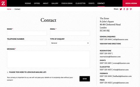 Screenshot of Contact Page thezetter.com - How to contact The Zetter Hotel Clerkenwell - captured Feb. 28, 2016