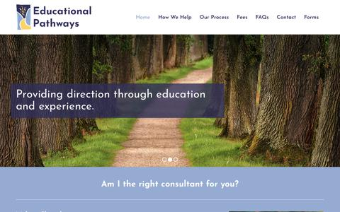 Screenshot of Home Page educationalpathways.com - Educational Pathways |  Providing direction through education and experience - captured July 16, 2018