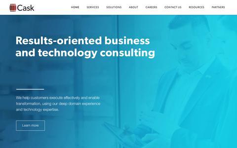 Screenshot of Home Page caskllc.com - Business Transformation | Technology Management Services | Cask - captured April 19, 2018