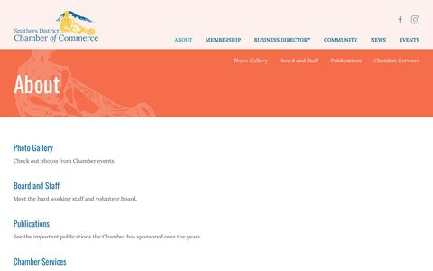 Screenshot of About Page smitherschamber.com - About - Smithers District Chamber of Commerce - captured Oct. 18, 2018