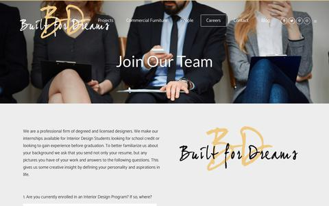 Screenshot of Jobs Page builtfordreams.com - Built For Dreams |   Join Our Team - captured Oct. 11, 2017