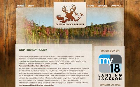 Screenshot of Privacy Page greatoutdoorpursuits.com - GOP Privacy Policy | Great Outdoor Pursuits - captured Sept. 30, 2014
