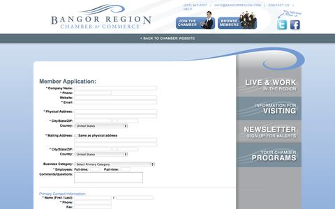 Screenshot of Signup Page chambermaster.com - Member - Bangor Region Chamber of Commerce - captured Sept. 18, 2014