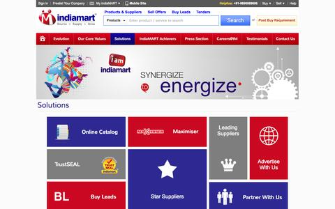 Screenshot of Services Page indiamart.com - IndiaMART - Solutions - captured Oct. 10, 2014