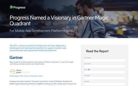 Screenshot of Landing Page progress.com - Progress Named a Visionary in Gartner Magic Quadrant - captured July 17, 2019
