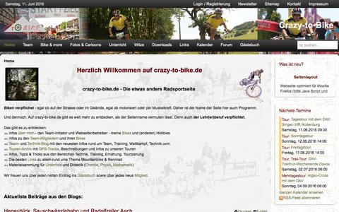 Screenshot of Home Page crazy-to-bike.de - Home - Crazy-to-Bike - captured June 11, 2016