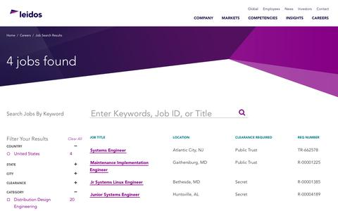 Screenshot of Jobs Page leidos.com - Leidos - College  Careers in Systems Engineering - captured Jan. 29, 2019