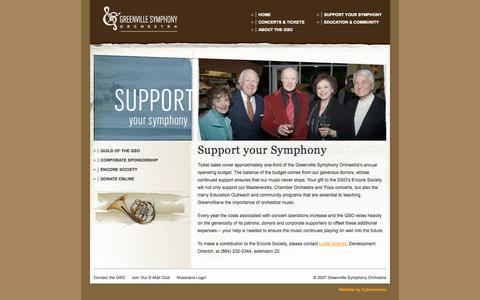 Screenshot of Support Page greenvillesymphony.org - Greenville Symphony Orchestra :: Support your Symphony - captured Oct. 3, 2014