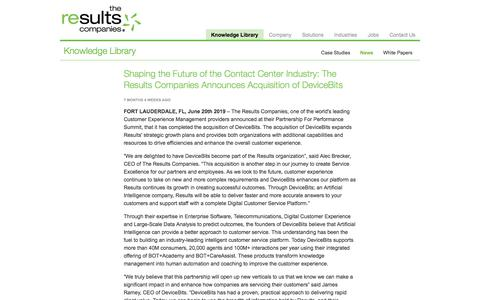Screenshot of Case Studies Page theresultscompanies.com - Shaping the Future of the Contact Center Industry: The Results Companies Announces Acquisition of DeviceBits   The Results Companies - captured Feb. 20, 2020