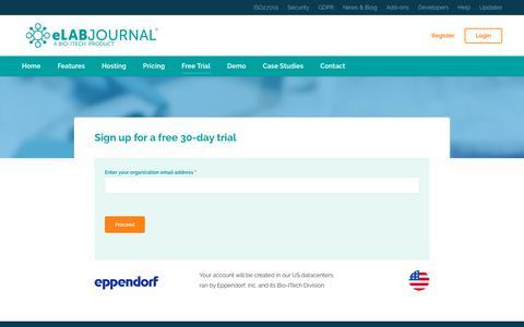 Screenshot of Trial Page elabjournal.com - eLABJournal ELN   Premium Electronic Lab Notebook   Free Trial - captured Aug. 12, 2019