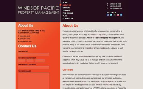 Screenshot of About Page wppm.com - San Ramon, Danville, Alamo, Walnut Creek, Dublin Property Management by Windsor Pacific Property Management | About Us - captured Oct. 9, 2014