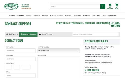 Screenshot of Contact Page sportsmans.com - Support, FAQ's, Knowledgebase   Sportsman's Warehouse - captured Oct. 14, 2019