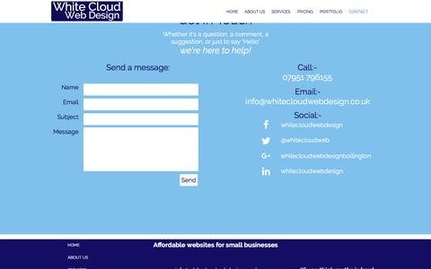 Screenshot of Contact Page whitecloudwebdesign.co.uk - White Cloud Web Design | Affordable Websites in Cheshire | CONTACT - captured May 10, 2017