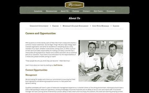Screenshot of Jobs Page merrimanshawaii.com - Careers - Merriman's Hawaii Restaurant - captured Jan. 10, 2016