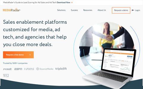 Screenshot of Home Page mediaradar.com - Sales Enablement   Ad Sales Intelligence   MediaRadar - captured July 17, 2018