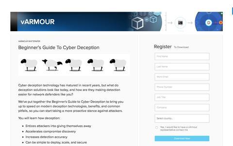 Screenshot of Landing Page varmour.com - Beginner's Guide To Cyber Deception - Whitepaper - captured April 7, 2017