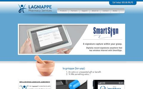 Screenshot of Home Page rxlps.com - Lagniappe Pharmacy Services | Pharmacy Management Software - captured July 17, 2014