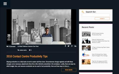 Screenshot of Blog globalteleforce.com - Global TeleForce Blog - Contact Centre Articles & Blogs - captured Jan. 30, 2016