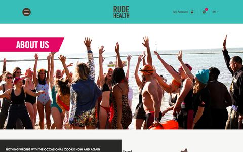 Screenshot of About Page rudehealth.com - Find Out More About Us, Our Team, Our History | Rude Health - captured Sept. 21, 2018