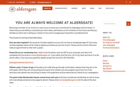 Screenshot of Signup Page aldersgate.net - Join Aldersgate – Aldersgate - captured Nov. 20, 2016