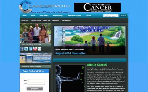 Screenshot of Home Page cancertruth.net - Cancer Truth | Alternative Cancer Treatments - captured Sept. 24, 2014