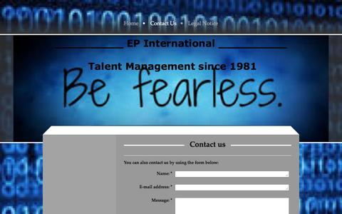 Screenshot of Contact Page ep-i.net - EP International - Contact Us - captured Jan. 23, 2016