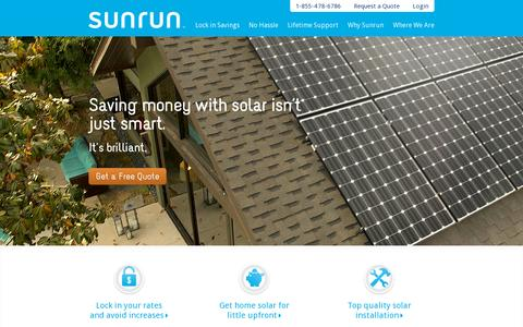 Screenshot of Home Page sunrun.com - Home Solar Lease & Installation - captured July 17, 2014