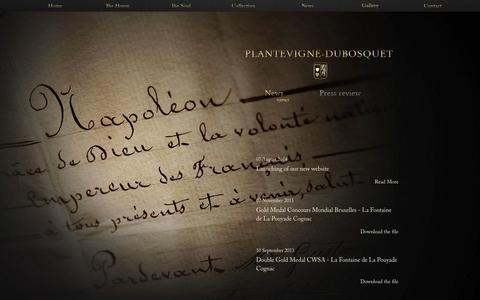 Screenshot of Press Page plantevigne-dubosquet.com - News - Plantevigne-Dubosquet - captured Nov. 2, 2014
