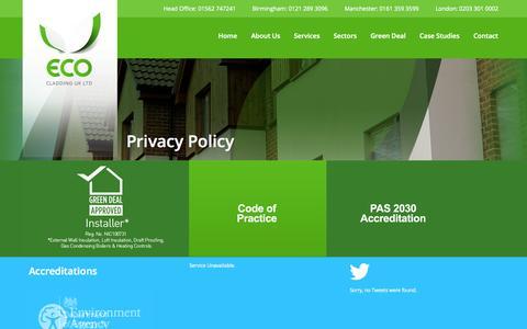 Screenshot of Privacy Page ecoukltd.com - Privacy policy   Eco Cladding UK Ltd   Eco Cladding UK Ltd - captured Oct. 1, 2014