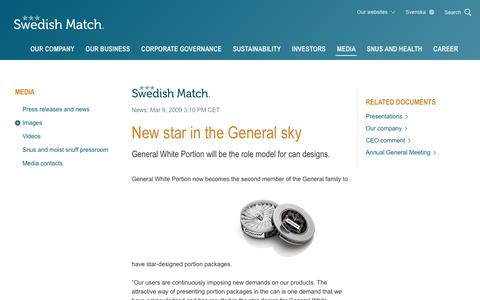 Screenshot of Press Page swedishmatch.com - Swedish Match - New star in the General sky - captured Nov. 1, 2018