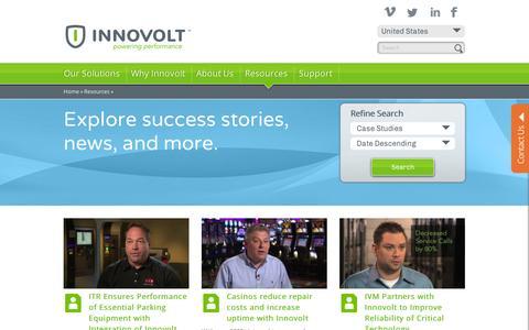 Screenshot of Case Studies Page innovolt.com - Resources   Innovolt - captured Sept. 10, 2014