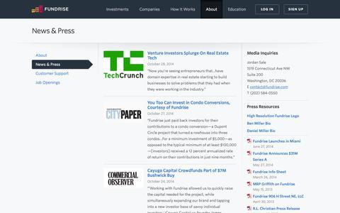 Screenshot of Press Page fundrise.com - News & Press   Fundrise - captured Nov. 4, 2014