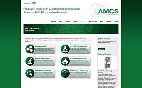 Screenshot of Products Page amcs.co.uk - AMCS - captured Feb. 4, 2016