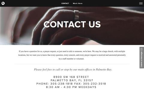 Screenshot of Contact Page cfmiami.org - Contact Us | Christ Fellowship Miami - captured Nov. 5, 2016
