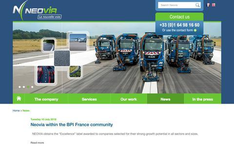 Screenshot of Press Page neovia-tp.fr - News - Neovia - captured Oct. 18, 2018