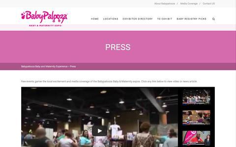 Screenshot of Press Page babypaloozatour.com - Press - Babypalooza Baby and Maternity Experience - captured Feb. 7, 2016