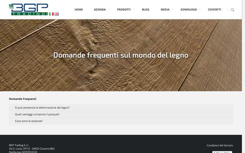 Screenshot of FAQ Page bgptrading.com - Domande frequenti sul parquet e sui pavimenti in legno - captured Oct. 4, 2014