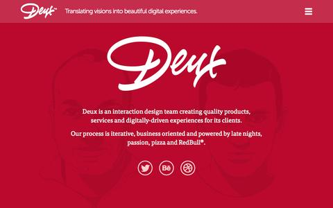 Screenshot of About Page deux.is - Deux.is a Digital Design Agency | About Us - captured Sept. 30, 2014