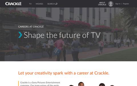 Screenshot of Jobs Page crackle.com - Crackle Careers - captured July 3, 2016