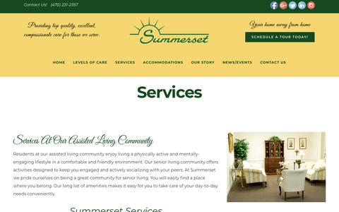 Screenshot of Services Page summersetalc.com - Summerset Assisted Living Community in Atlanta - Our On-Site Services - captured Oct. 18, 2018