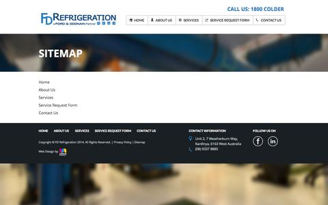 Screenshot of Site Map Page fdrefrigeration.com.au - Sitemap | FD Refrigeration - captured Sept. 30, 2014