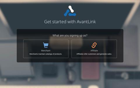 Screenshot of Signup Page avantlink.com - AvantLink - Get started - captured Dec. 3, 2015