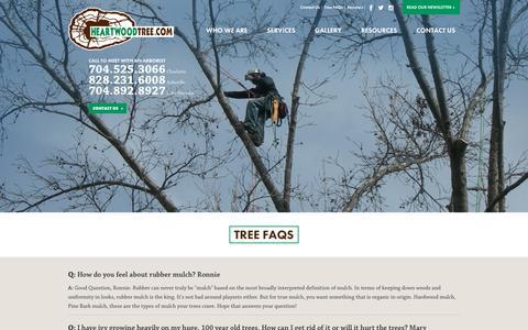 Screenshot of FAQ Page heartwoodtree.com - Tree FAQs   Heartwood Tree Service   Heartwoodtree.com - captured Sept. 27, 2018