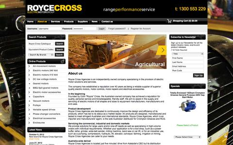 Screenshot of About Page roycecross.com.au - About Us - Royce Cross Agencies - captured Oct. 1, 2014