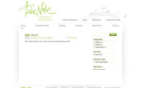 Screenshot of Blog take-note.co.za - Take Note Blog - captured Oct. 27, 2014