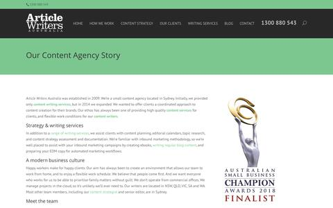 Screenshot of Team Page articlewriters.com.au - About Our Content Agency - Article Writers Australia - captured Nov. 9, 2018