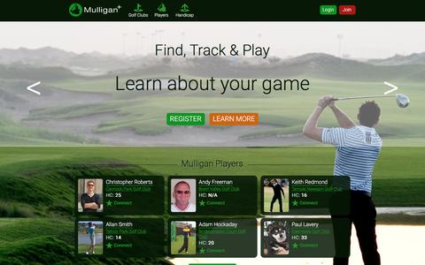 Screenshot of Home Page mulliganplus.com - Find Track Play Golf   Golf Handicap   Golf Courses   Offers   Your golf scores with Mulligan+ - Mulligan Plus Online Golf - captured Dec. 5, 2016